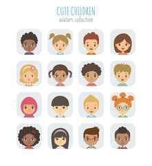 Avatars collection of cute children. Vector illustration of different nationalities children's portraits, arranged in square shape.