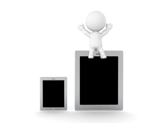 3D Character sitting on top of large tablet device next to a small one