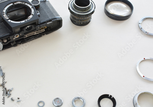 Details of the old manual lens in the frame, free space. Laid lens ...