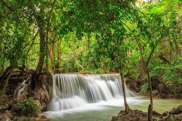Beautiful Huai Mae Khamin waterfall in the rainy season, With a lot of water, Kanchanaburi Province, Thailand.