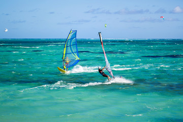 Windsurfers on the Le Morne beach in Mauritius