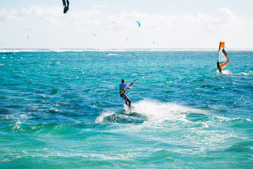 Kitesurfers on the Le Morne beach in Mauritius