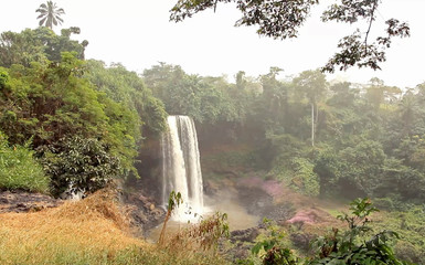 A still image taken from a video shows a waterfall in Agbokim Waterfalls village