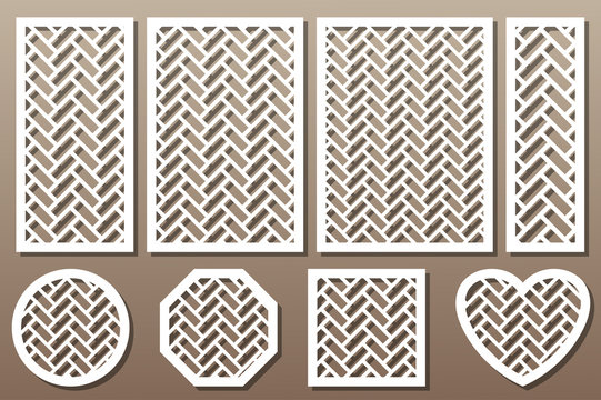 Set geometric ornament template. card for laser cutting. decorative design element. circular pattern. Vector illustration.