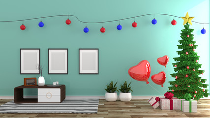 Christmas style , mint room interior, modern style. 3D rendering