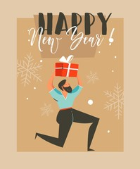 Hand drawn vector abstract fun Merry Christmas time cartoon illustration greeting card with man who holds surprise gift box and Happy New Year typography isolated on craft paper background