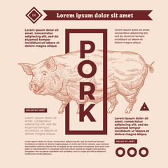 Happy pork in the form of engraving on label with a text stamp, and lettering calligraphy.