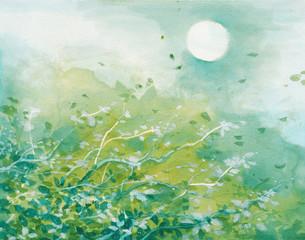 Paesaggio in acquerello con natura verde, sole e foglie al vento