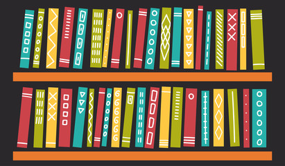 Books with ornament on shelves on dark background. Education, studying, reading vector illustration.