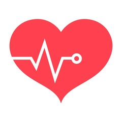 Heart pulse flat icon, fitness and sport, heartbeat sign vector graphics, a colorful solid pattern on a white background, eps 10.