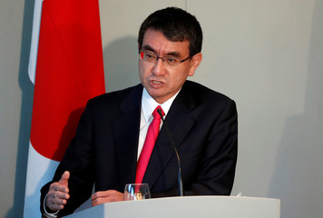 Japan's Foreign Minister Taro Kono speaks at a news conference at the National Maritime Museum in London