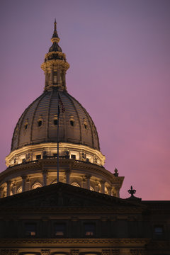 Michigan State Capital Building Dome at Sunset in Lansing