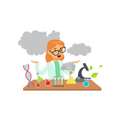 Girl scientist after a failed experiment, schoolgirl at chemistry lesson vector Illustration
