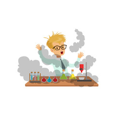 Boy scientist after a failed experiment, mixture explosion, schoolboy at chemistry lesson vector Illustration