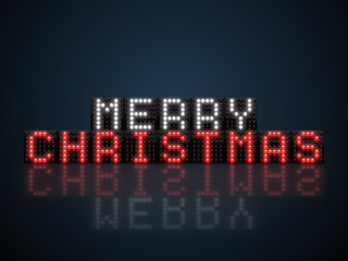 Merry Christmas message glowing in the dark on LED display
