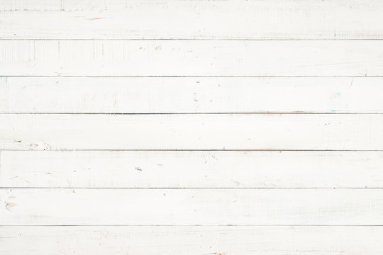 white natural wood wall texture and background, Empty surface white wooden for design, Top view white table and copy space