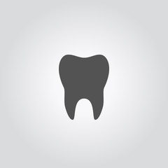 Tooth icon. Vector illustratin of human tooth silhouette, isolated on white background.