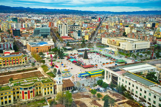 TIRANA,ALBANIA/DECEMBER 11,2017: The central square of Tirana.