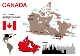 Canada - carte - symbole - drapeau - Ottawa - monument - présentation - pays - Canadien - ville