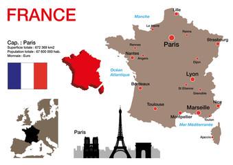 France - carte - symbole - drapeau - Paris - monument - présentation - pays - français