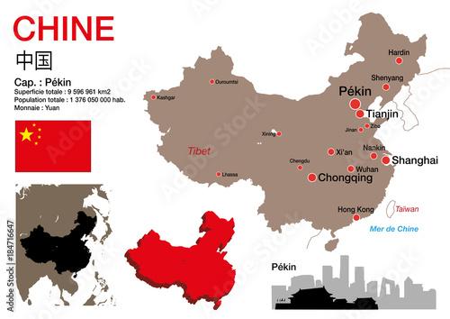 Carte Chine Pekin Shanghai.Chine Carte Symbole Drapeau Pekin Monument
