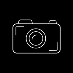 Simple camera icon of white outline for illustration