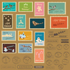 Christmas vector postal stamps
