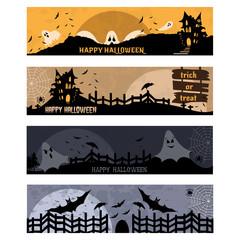 Vector illustration of Cartoon halloween banners set