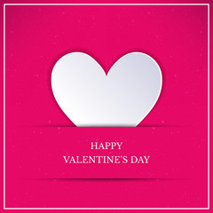 Valentines Day card with white heart. White paper art style heart on pink background