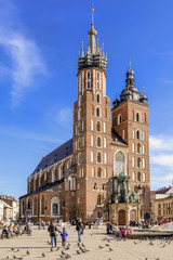 KRAKOW, POLAND - FEBRUARY 27, 2017: Mariacki church, Church of Our Lady Assumed into Heaven, a brick gothic church adjacent to the Main Market Square