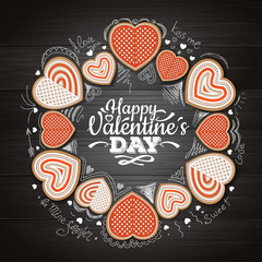 Top view of valentine cookies on wooden background. Happy Valentine`s Day