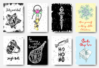 Big set of creative holiday banner templates. Christmas and New Year hand drawn illustrations for card, posters, email and newsletter designs, ads, promotional material. Vector.