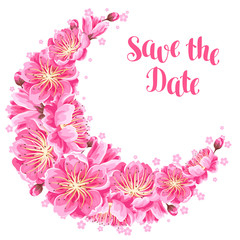 Decoration with sakura or cherry blossom. Save the date. Floral japanese ornament of blooming flowers