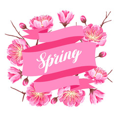 Spring background with sakura or cherry blossom. Floral japanese ornament of blooming flowers
