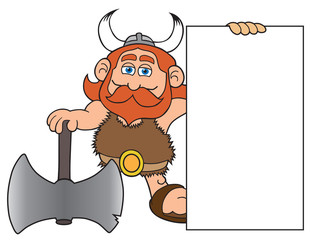 Happy cartoon viking with a large axe is holding a blank sign