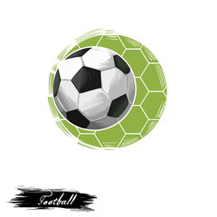 Football club logo digital art illustration isolated on white. Team game sport logotype with kick ball equipment abstract championship emblem with green field background, league competition