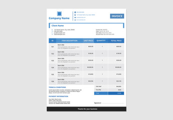 Business Invoice Layout with Blue Accents