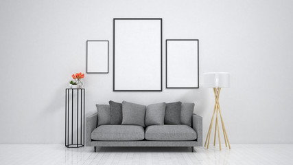 mock up poster frame in interior background, 3D render, 3D illustration
