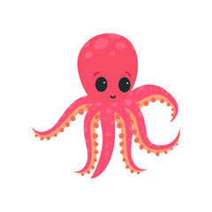 Cartoon pink octopus with big shiny eyes. Soft-bodied mollusk with six tentacles. Marine wildlife. Flat vector design getting card, print or network sticker