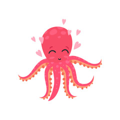 Cute loving octopus surrounded by pink hearts. Funny cartoon character of sea animal. Flat vector design for social network message, logo, card or kids print