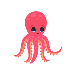 Sad octopus character with tears in his eyes. Invertebrate sea animal concept. Cartoon mollusk with six tentacles. Flat vector design for print, emoji sticker or poster