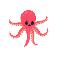 Cartoon octopus character with angry face expression. Marine creature concept. Pink six-tentacled mollusk. Flat vector design for print, emoji sticker or print