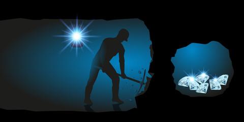 trésor - richesse - concept - souterrain - creuser - mine - riche - succès - réussite - mineur - fortune