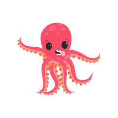 Joyful little octopus having fun and showing his tongue. Cartoon character of marine creature. Flat vector design for social network message, kids print or postcard