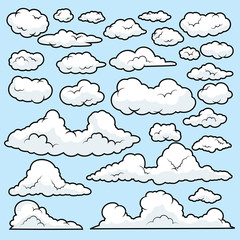 Set of funny cartoon clouds, Clouds  on Blue Sky Background. , Clouds patterns and clouds icons, filling sky scenes or user interface games backgrounds. Vector