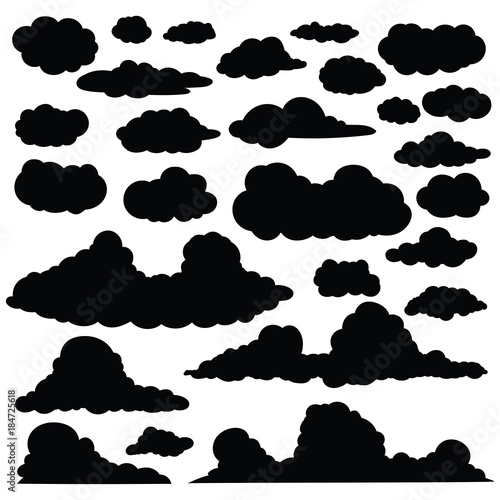 Set of funny cartoon clouds silhouette, Clouds isolated on