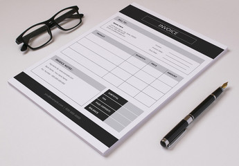 Business Invoice Layout with Black Bar Header and Footer