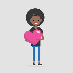 Saint Valentines concept. Young black smiling character holding a big pink heart. Declaration of love. Flat editable vector illustration, clip art