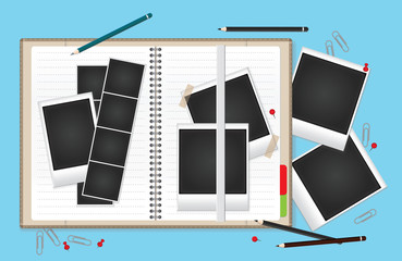 Vector illustration set of blank retro photo frames for your photos. A blank open notebook for your text.