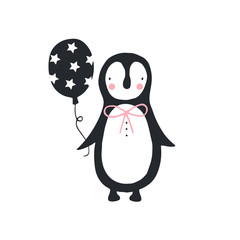Unique hand drawn nursery birthday poster with cute penguin in scandinavian style. Vector illustration